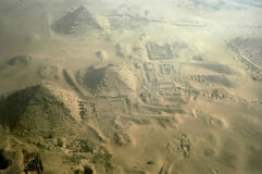 Giza pyramids. From the plane, Cairo, Egypt Royalty Free Stock Photo