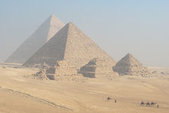 The Giza Pyramids. Five Ancient Pyramids and desert in Giza, Egypt Royalty Free Stock Photography
