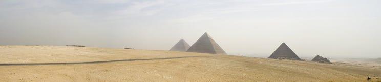 Giza pyramids. Panoramic of Giza pyramids, Cairo, Eypt stock photos