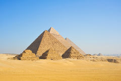 Giza Pyramids. The three pyramids of the pharaohs Cheops, Chephren and Mykerinos Royalty Free Stock Images