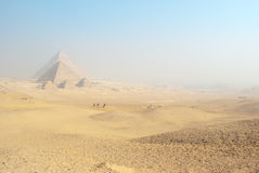 The Giza Pyramids Background. Five Ancient Pyramids and desert in Giza, Egypt Stock Image