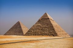 Giza pyramids, Cairo, Egypt. And blue sky royalty free stock photo