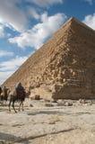 Giza Pyramids Egypt. A tour guide on camel awaits the next tourist. Pyramids at Giza, Egypt stock photo