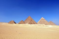 Giza pyramids Egypt. Egyptian pyramids in desert on Giza Plateau, Giza, Egypt Stock Photo