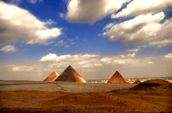 Giza Pyramids. The three Giza pyramids of the fourth dynasty 2600 B.C Royalty Free Stock Images
