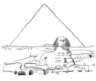 Giza Sphinx with Pyramids sketched. Famous Destination Landmark, Hand drawn Vector Artwork Stock Image