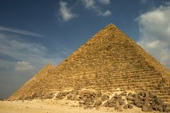 Giza V. Two of the pyramids at Giza, Cairo, Egypt Stock Images