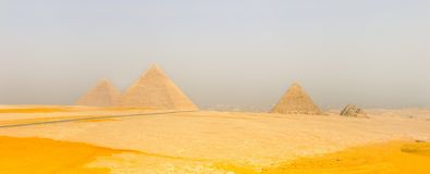 Giza valley with Great pyramids. Cairo Royalty Free Stock Photos