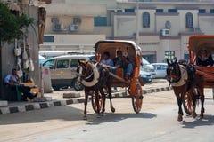 GIZEH, EGYPTE - FÉVRIER 2010 : Chariots de cheval sur la rue de ville Image stock