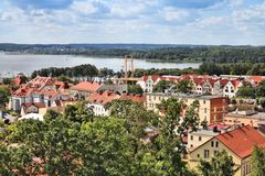 Gizycko, Poland. Townscape with lake Niegocin. Lake region Masuria royalty free stock photography