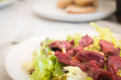 Gizzard plate with salad Royalty Free Stock Photography