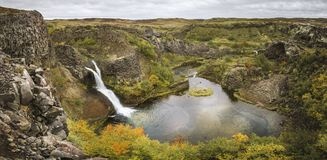 Gjain Game of Thrones Scenery. Iceland Landscape where Game of Thrones was shot. Beautiful waterfalls in fall/autumn. Mountains in nature stock photography