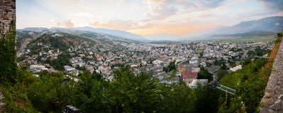 Gjirokastër city in southern Albania, situated in a valley between the Gjerë mountains and the Drino. A rare example of a well-preserved Ottoman town. View Royalty Free Stock Photos