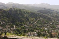 Gjirokaster,阿尔巴尼亚看法从城堡的 免版税库存照片