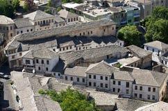 Gjirokaster -银色屋顶镇,阿尔巴尼亚 免版税图库摄影