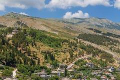 View on the old Gjirokaster town, Albania. stock image
