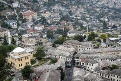 Gjirokaster Balkan ottoman architektury grodzki widok w południowym al obrazy stock