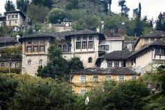 Gjirokaster Balkan ottoman architektury grodzki widok w południowym al fotografia royalty free