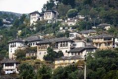 Gjirokaster Balkan ottoman architektury grodzki widok w południowym al obraz royalty free