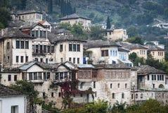 Gjirokaster Balkan ottoman architektury grodzki widok w południowym al zdjęcie royalty free