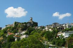 Gjirokaster Citadel. General view of citadel/fortress in ancient city of Gjirokaster, southern Albania, seen from below Royalty Free Stock Photography