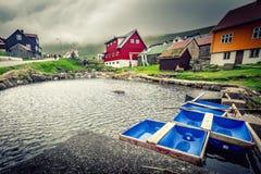 Gjogv wioska w Faroe wyspie Obraz Royalty Free