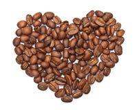 gjord bönakaffehjärta Royaltyfria Bilder