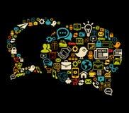 Gjord bubblakommunikation med sociala massmediasymboler Fotografering för Bildbyråer
