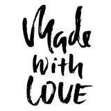 gjord förälskelse Hand - gjort bokstäveruttryck för online-lager Vektorfärgpulverillustration Modernt torka borstekalligrafi Royaltyfri Fotografi