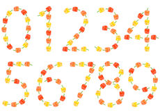 gjord paprika för nio nummer till nolla Fotografering för Bildbyråer