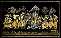 Gjord srilankesisk traditionell hand - blänka kanfas Art Of Kandy Esala Procession Arkivfoto