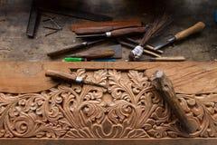 Gjord wood hand för hantverk - arkivbild