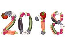 2018 gjorde av olika grönsaker Arkivbild