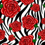 Gjorde randig den sömlösa modellen för röda rosor med sebran svartvitt Royaltyfria Bilder