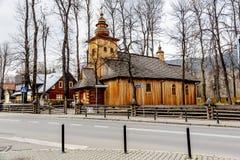 Gjort av trä, gammal kyrka i Zakopane Royaltyfri Fotografi