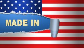 Gjort i Amerika, flagga, illustration Royaltyfri Fotografi