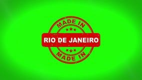 Gjort i animering för stämpel för RIO DE JANEIRODE JANE Signed Stamping Text Wooden vektor illustrationer
