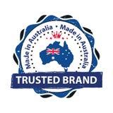 Gjort i Australien - tryckbar stämpel/etikett royaltyfri illustrationer