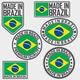 Gjort i Brasilien etikettuppsättning med flaggan, vektorillustration Royaltyfri Fotografi