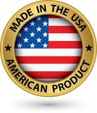 Gjort i den guld- etiketten USA för amerikansk produkt med flaggan, vektor il vektor illustrationer