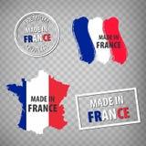 Gjort i den isolerade symbolen för Frankrike gummistämplar på genomskinlig bakgrund Tillverkat eller producerat i Franska republi vektor illustrationer