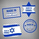 Gjort i den isolerade symbolen för Israel gummistämplar på genomskinlig bakgrund Tillverkat eller producerat i Israel Ställ in av vektor illustrationer