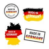 Gjort i den isolerade symbolen för Tysklandgummistämplar på vit bakgrund Tillverkat eller producerat i Förbundsrepubliken Tysklan vektor illustrationer