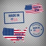 Gjort i den isolerade symbolen för USA gummistämplar på genomskinlig bakgrund Tillverkat eller producerat i Amerikas förenta stat stock illustrationer