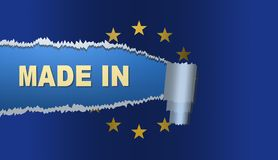 Gjort i Europa, flagga, illustration Royaltyfria Bilder