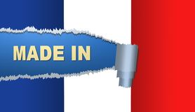 Gjort i Frankrike, flagga, illustration Arkivbilder
