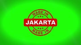 Gjort i JAKARTA undertecknade stämpling textav trästämpelanimering vektor illustrationer