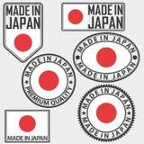 Gjort i Japan etikettuppsättning med flaggan, vektor Royaltyfri Foto