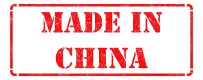 Gjort i Kina - röd Rubber stämpel Arkivbild