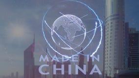 Gjort i Kina text med hologrammet 3d av planetjorden mot bakgrunden av den moderna metropolisen vektor illustrationer